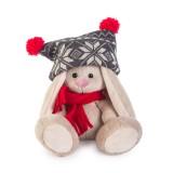 Зайка Ми  в шапке с помпонами и красном шарфике (малыш)
